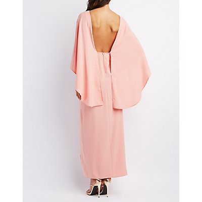 Backless Caped Maxi Dress