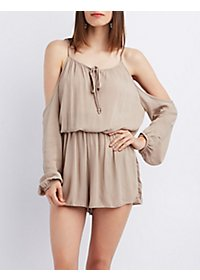 Smocked Waist Cold Shoulder Romper