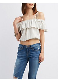 Striped Ruffle Crop Top