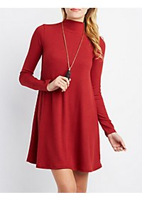 Ribbed Funnel Neck Shift Dress