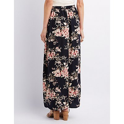 Floral Print Wrapped Maxi Skirt