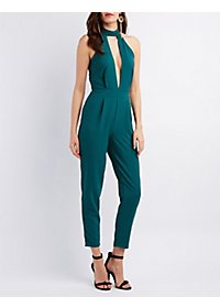 Deep Plunge Mock Neck Jumpsuit