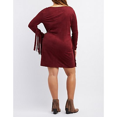 Plus Size Fringe-Trim Faux Suede Shift Dress