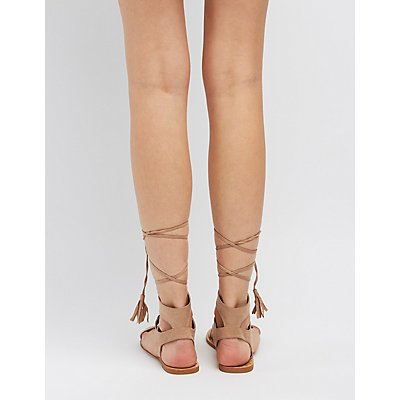 Qupid Lace-Up Ankle Sandals