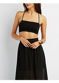 Lace-Up Bandeau Crop Top