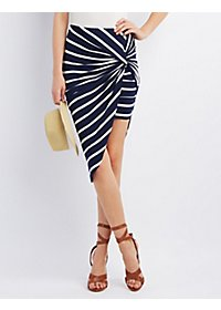 Striped Asymmetrical Knot Skirt