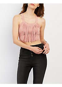 Fringed Faux Suede Crop Top