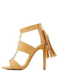 Caged Fringe Dress Sandals