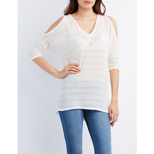 Sheer Striped Cold Shoulder Womens Top