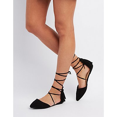 Fringed Lace-Up Pointed Toe Flats