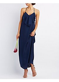 Draped & Caped Ruffle Maxi Dress