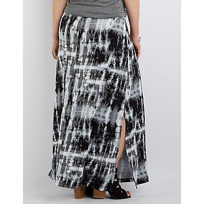 Plus Size Side Slit Maxi Skirt