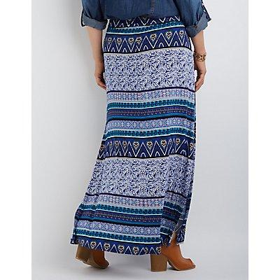 Plus Size Foldover Waist Printed Maxi Skirt