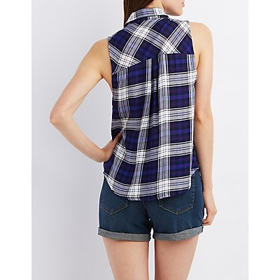Sleeveless Plaid Button-Up Top