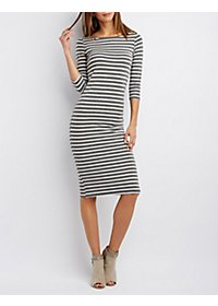 Three-Quarter Sleeve Midi Dress
