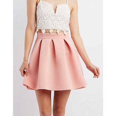 Pleated Scuba Skirt