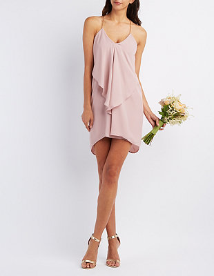 Draped & Caped Ruffle Cascade Dress: Charlotte Russe