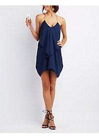 Draped & Caped Ruffle Cascade Dress