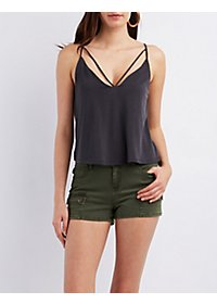 Strappy Scoop Neck Crop Top
