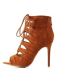 Caged Lace-Up Booties