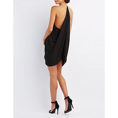 Draped & Caped Ruffle Cascade Dress