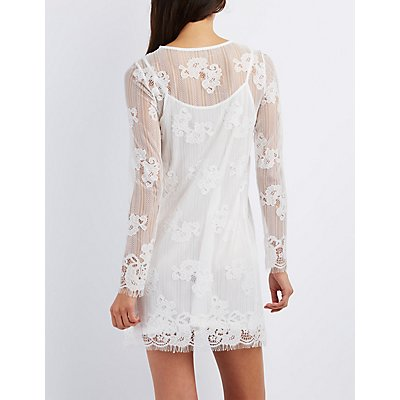 Eyelash Lace Shift Dress
