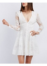Damask Lace Skater Dress