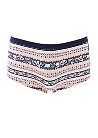 Printed Crochet Trim Boyshort Panties