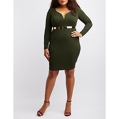 Plus Size Textured Bodycon Dress