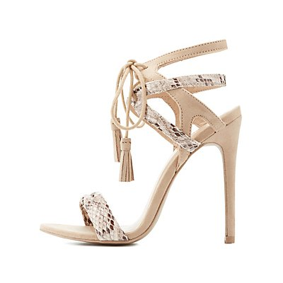 Caged Faux Snakeskin Tassel Sandals