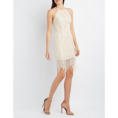 Tie-Back Lace Bodycon Dress