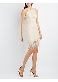 Tie-Back Lace Bodycon Dress