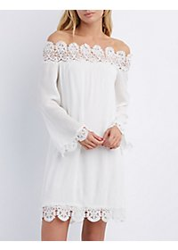 Crochet-Trim Off-the-Shoulder Shift Dress