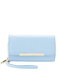 Metal-Tipped Double Zipper Wristlet Wallet