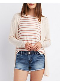 Slub Knit Open Front Cardigan