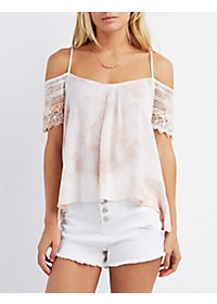 Tie-Dye Crochet Sleeve Top