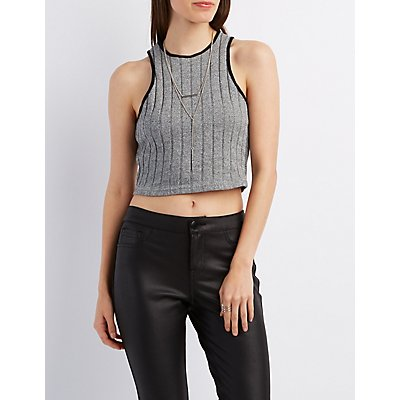 Ribbed Racer Front Crop Top