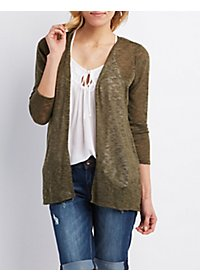 Open Front Slub Knit Cardigan Sweater