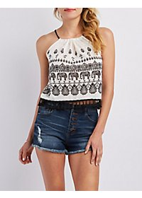 Tassel-Trim Graphic Crop Top