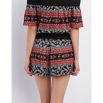 Crochet-Waist Printed Shorts