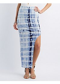 Tie-Dye Cut-Out Maxi Skirt
