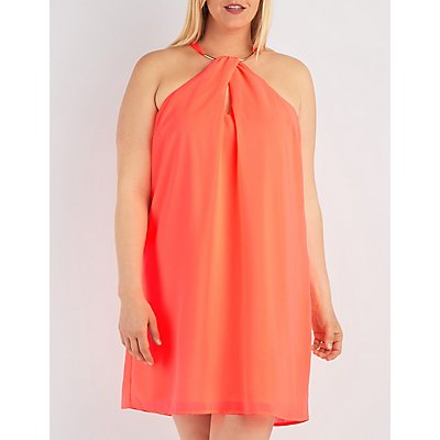 Plus Size Metal Neck Shift Dress