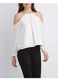 Chain Neck Cold Shoulder Top