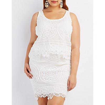 Plus Size Crochet Sleeveless Crop Top