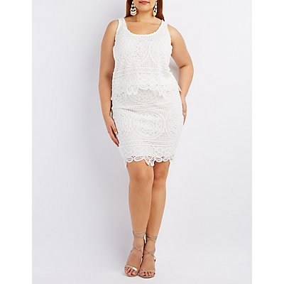 Plus Size Medallion Crochet Pencil Skirt
