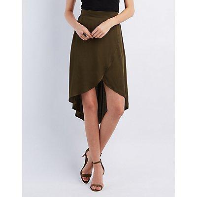 High-Low Tulip Midi Skirt | Charlotte Russe