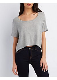 Cropped Scoop Neck Boyfriend Tee