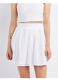 Eyelet Pleated Skater Skirt