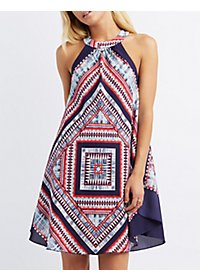 Printed Slit Bib Neck Shift Dress
