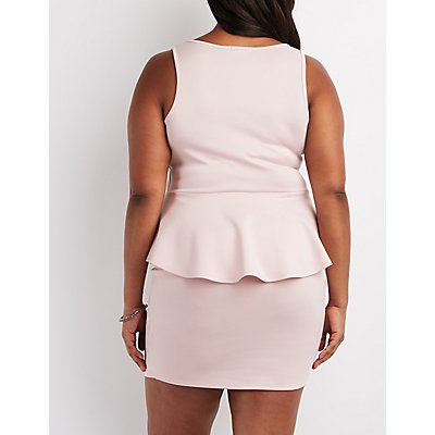 Plus Size Wired Notch Peplum Dress